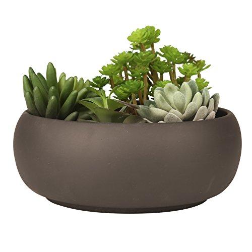 Maceta redonda de cerámica sin esmaltar con acabado marrón mate