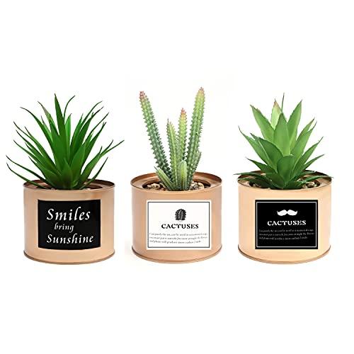 BELLE VOUS Mini Plantas Artificiales Decorativas en Maceta de Metal Cobre (Pack de 3)...