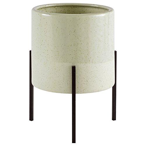 Rivet Macetero de cerámica con base de hierro, diseño de mediados de siglo, 23,1 cm...