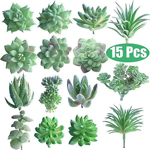 FEPITO 15 piezas artificiales plantas suculentas verde sin manchas Faux Flower...