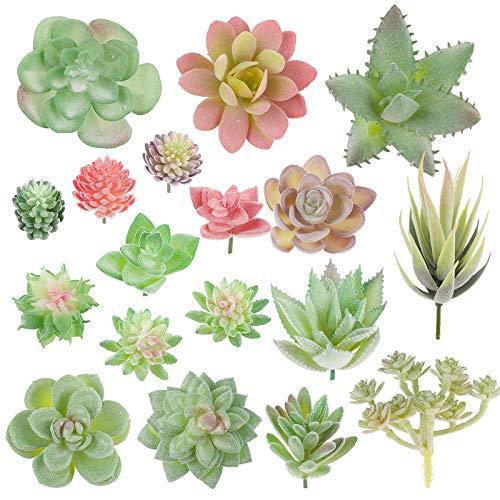 VINFUTUR 18pcs Suculentas Artificiales Decorativas Mini Plantas Falsas Variadas...