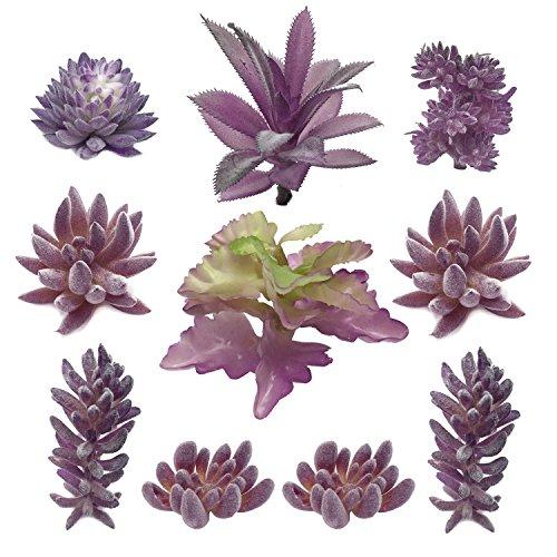 PietyDeko Suculentas Falsas, 10pcs Púrpura Grandes suculentas Artificiales y...