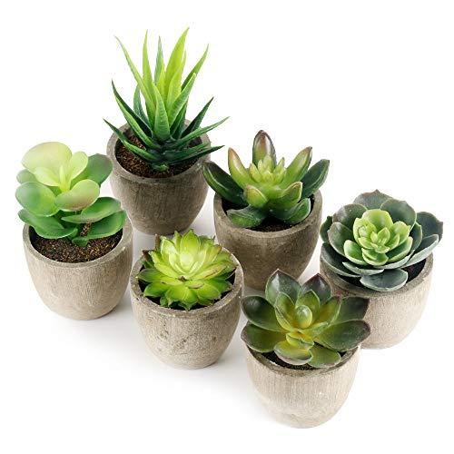 GoMaihe Plantas Suculentas Artificiales, 6 Piezas, Planta Artificial Decorativa,...