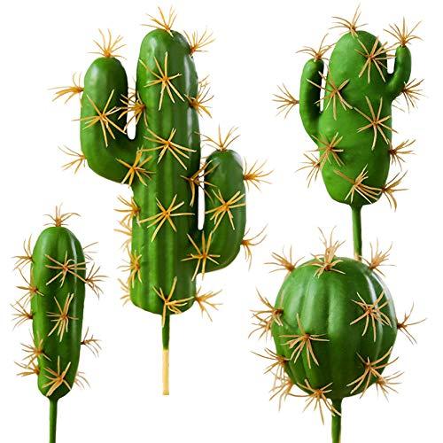 FagusHome 4 Piezas Plantas Suculentas Artificiales Cactus Artificiales Tallos de...
