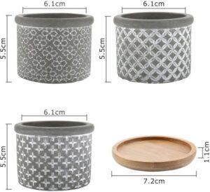 macetas pequeñas cemento